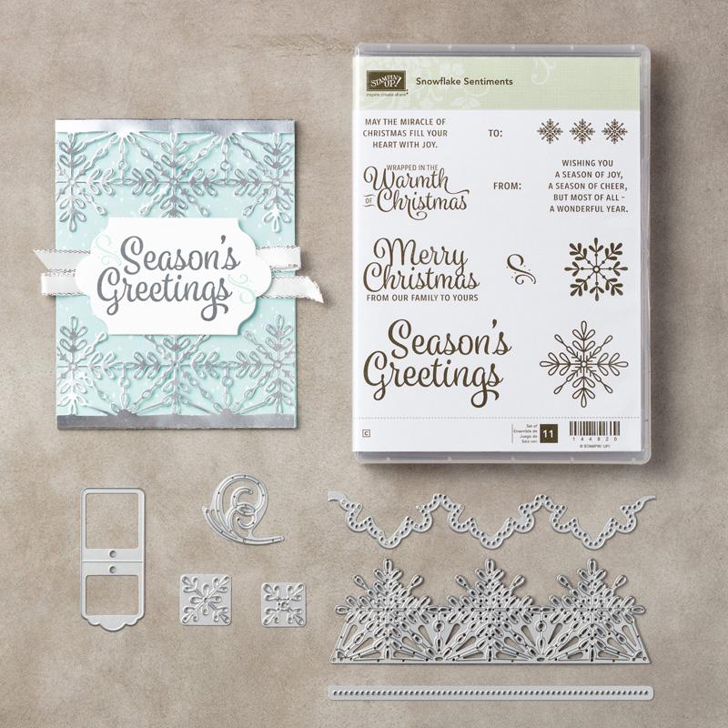 Stampin' Up! Snowflake Sentiments stamp set, Swirly Snowflakes Thinlits. Stampin' Studio