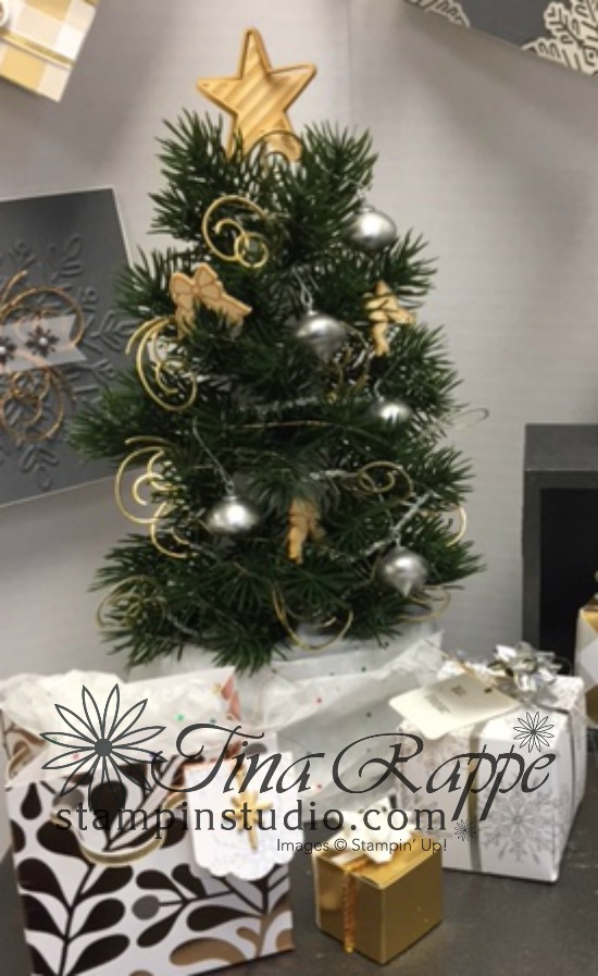 Stampin' Up! Christmas Tree made with Green Sprigs, Mini Tinsel Trim Combo Pack, Mini Ornaments and Christmas Around the World Embellishments, Stampin' Studio