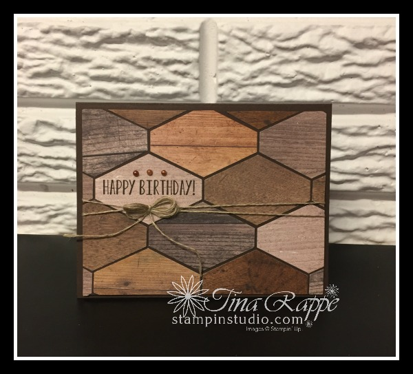 Stampin' Up! Wood texture DSP, Tailored Tag Punch, Stampin' Studio