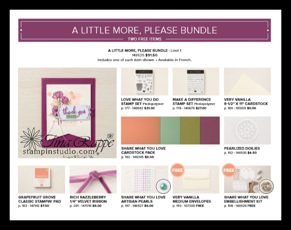 Stampin' Up! A Little More Please Bundle, Share What You Love Suite, Stampin' Studio