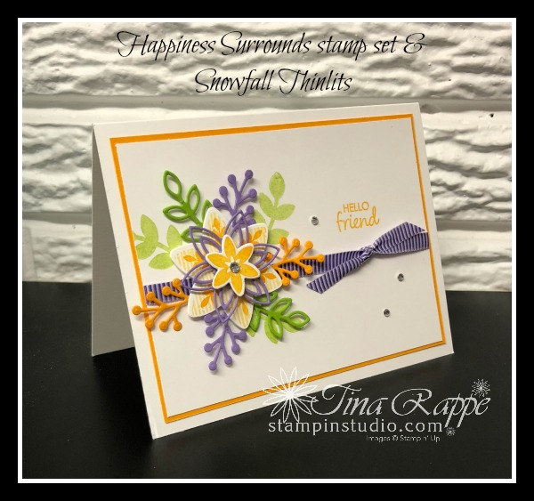 Stampin' Up! Happiness Surrounds stamp set, Snowfall Thinlits, Stampin' Studio