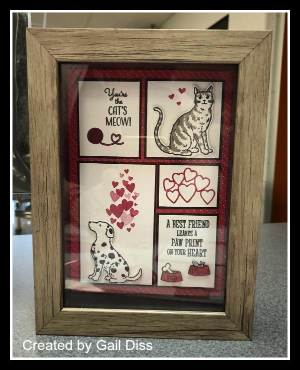 Stampin' Up! Be Mine Stitched Framelits, Nine Lives stamp set, Happy Tails stamp set, Framed Art, Stampin' Studio