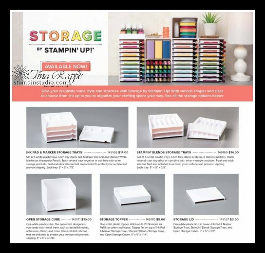 Storage by Stampin' up! Configuration Chart, Stampin' Studio