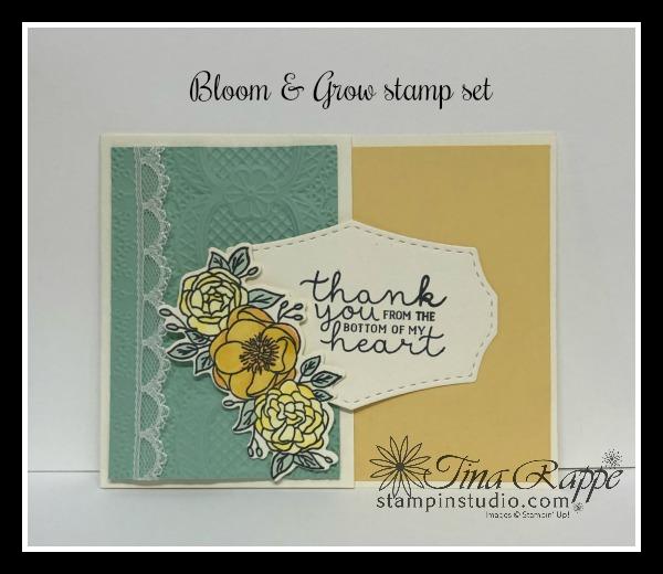 Stampin' Up! Bloom & Grow Bundle, Bloom & Grow stamp set, Budding Blooms Dies, Lace 3D Embossing Folder, Stampin' Studio