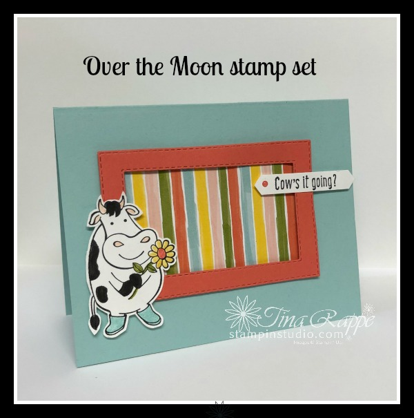 Stampin' Up! Over the Moon stamp set, Bird Ballad DSP, Stitched Rectangle Dies, Stampin' Studio