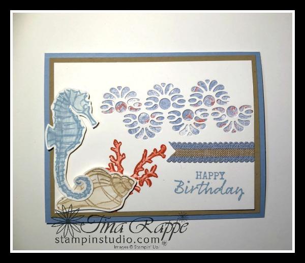 Stampin' Up! Tasteful Background Dies, Seaside Notions stamp set, Stampin' Studio