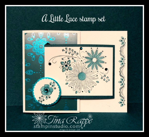 Stampin' Up!, A Little Lace stamp set, Nobel Peacock Specialty Designer Series Paper, Nobel Peacock Foil Sheets, Fun Fold Card, Stampin' Studio