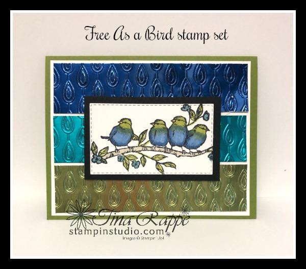 Stampin' Up! Free as a Bird stamp set, Nobel Peacock Foil Sheets, Stampin' Studio