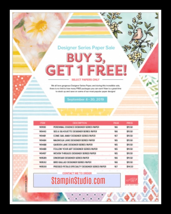 Stampin' Up! Buy 3 Get 1 Free DSP offer, Stampin' Studio