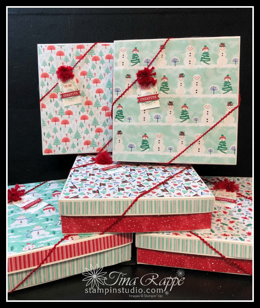 Stampin' Up! Let it Snow DSP Boxes, Stampin' Sisters Holiday Hoopla, Stampin' Studio