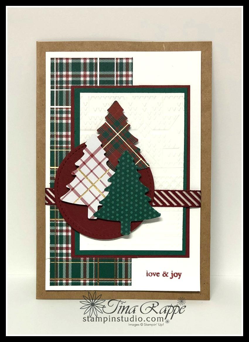Stampin' Up! Perfectly Plaid stamp set, Pine Tree Punch, Magnolia Lane Cards & Envelopes, Stampin' Studio
