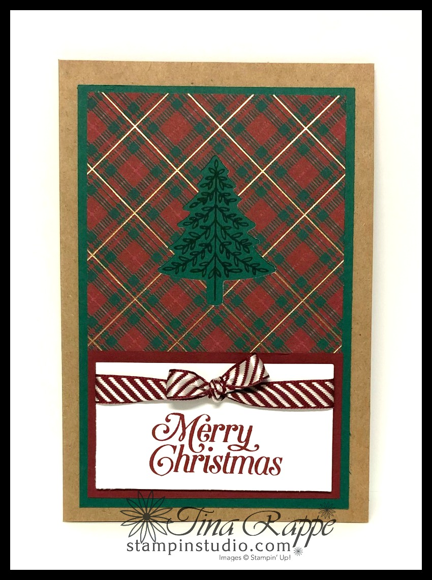 Stampin' Up! Perfectly Plaid stamp set, Pine Tree Punch, Magnolia Lane Cards & Envelopes, Stampin' Studio