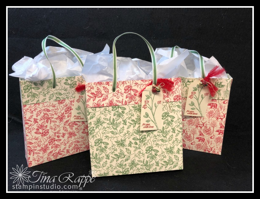 Stampin' Up! , Toile Tidings DSP Bags,Stampin' Sisters Holiday Hoopla, Stampin' Studio