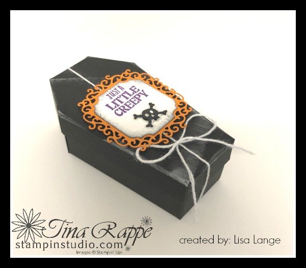 Stampin' Up! Coffin Treat Boxes, Boo to You stamp set, Ornate Frames Dies, Stampin' Sisters Holiday Hoopla Halloween Treats, Stampin' Studio