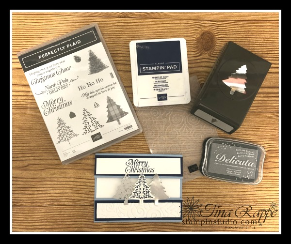 Stampin' Up! Perfectly Plaid stamp set, Pine Tree Punch, Missing Middle Fun Fold Card, Stampin' Studio
