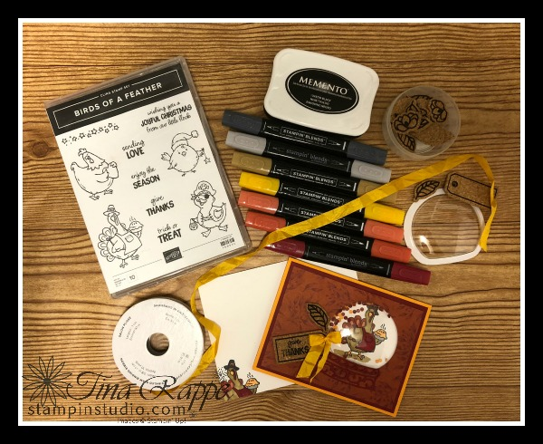 Stampin' Up! Birds of a Feather stamp set, Shaker card, Thanksgiving, Stampin' Studio