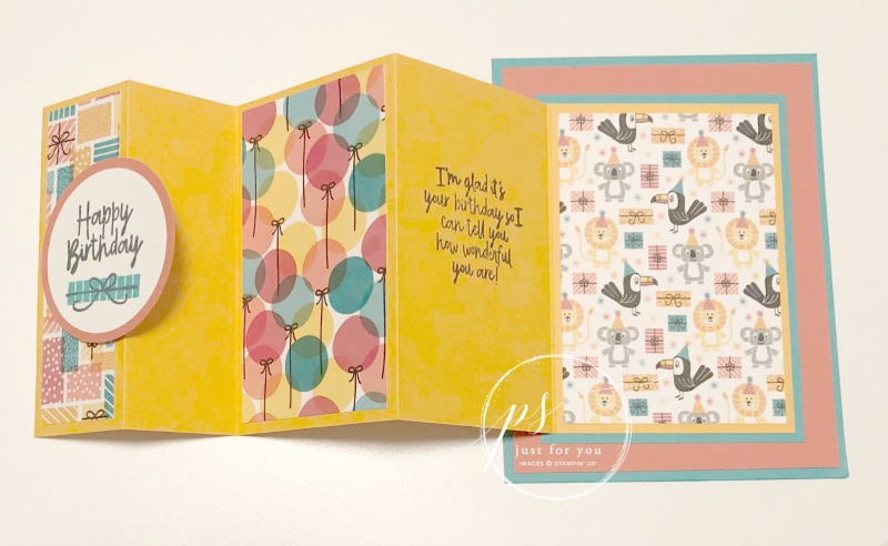 Stampin' Up! Birthday Buddies stamp set, Birthday Bonanza DSP, Tri-Panel Fun Fold, Stampin' Studio
