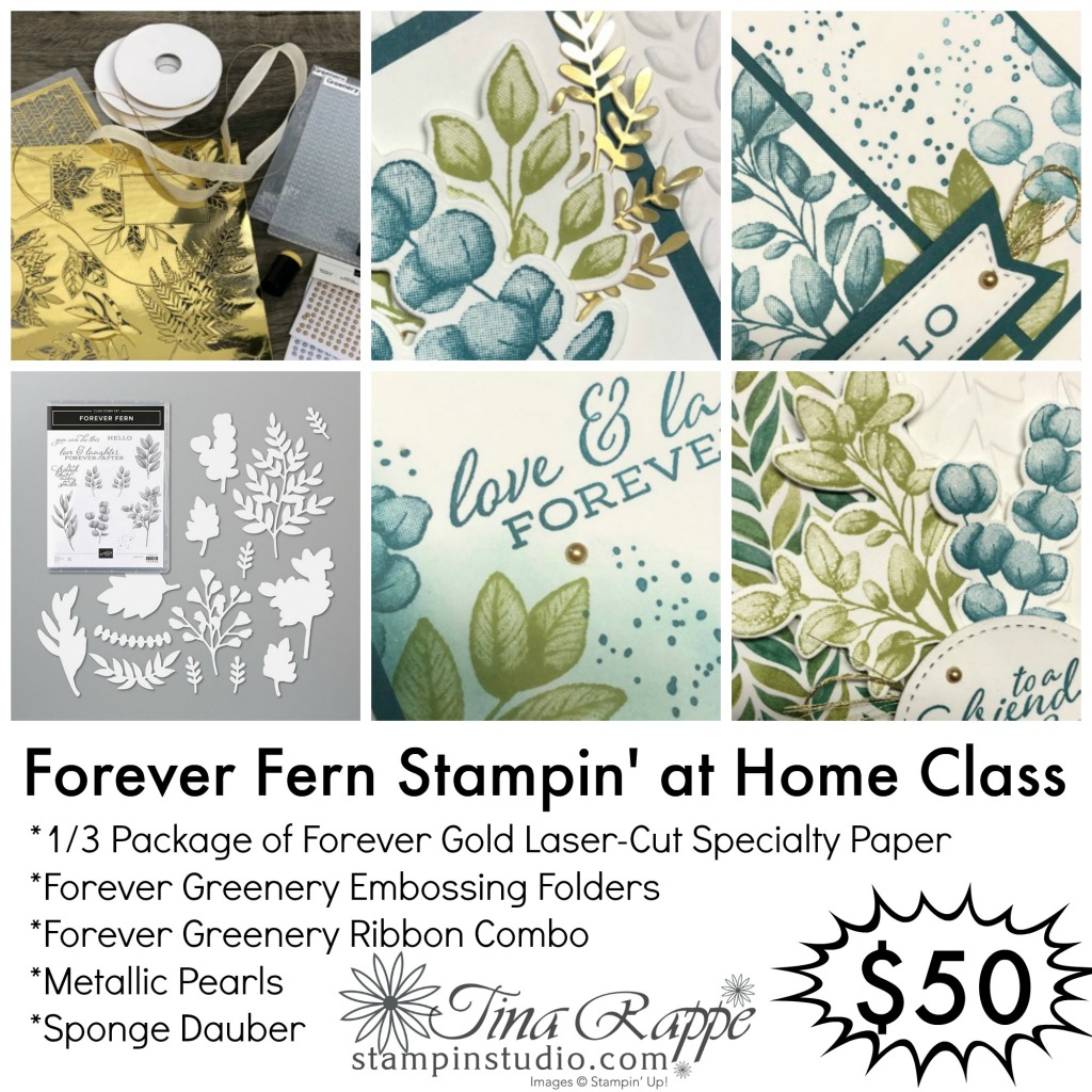 Stampin' Up! Forever Fern stamp set, Forever Flourishing Dies, Forever Greenery Suite, Stampin' at Home Class,Stampin' Studio