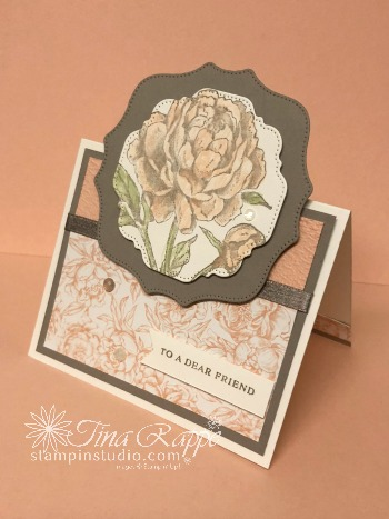 Stampin' Up! Prized peony stamp set, Peony Garden Suite, Fun Fold Card, Stampin' Studio